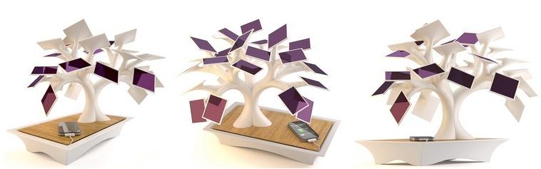 """Electree """"töltőfa"""" – Zöld IT bonsai (mobiltelefon töltő)"""